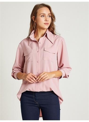 Vekem-Limited Edition Büyük Yakalı Cepli Krep Gömlek Pembe
